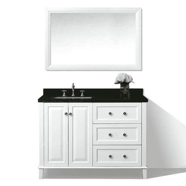 Ancerre Designs Vtsm Hannah 48 L W B Hannah 48 Inch Off Centered Left Basin Vanity In White With Black Granite Vanity