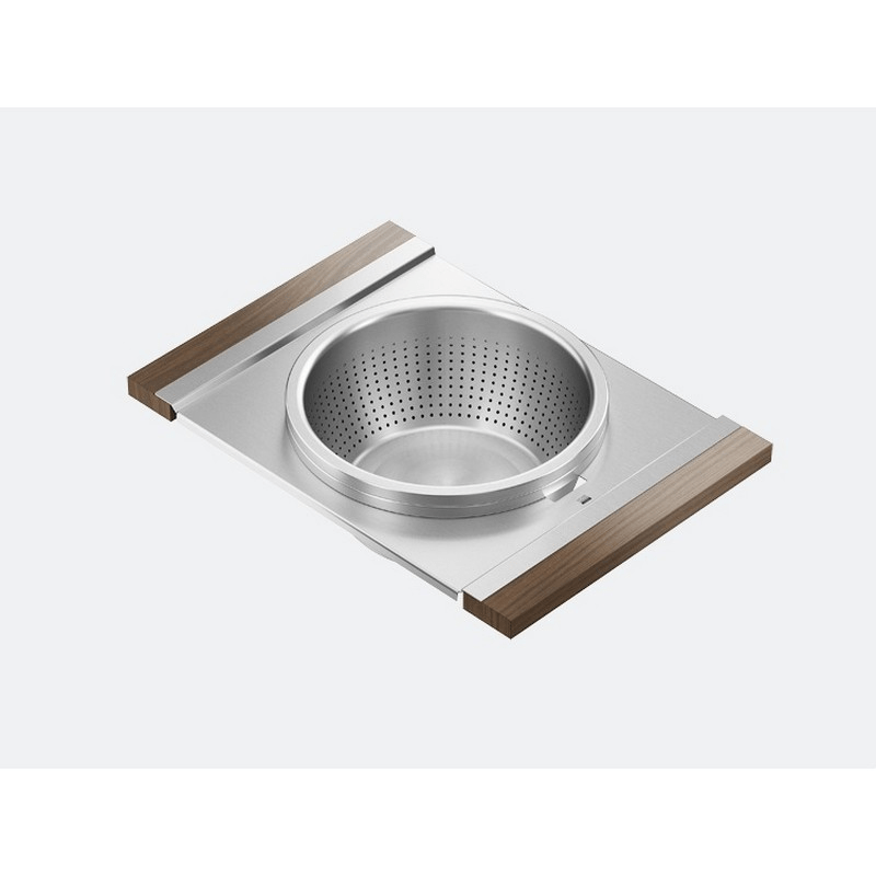 JULIEN 225209 SERVING BOARD 12 INCH WITH BOWL AND COLANDER FOR 18 INCH SINK WITH WALNUT HANDLES