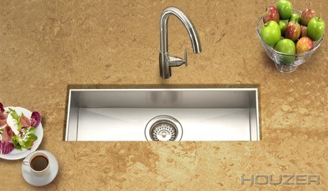 Houzer CTB-2385 Contempo 23 Inch Zero Radius Undermount Trough Bar/Prep Sink