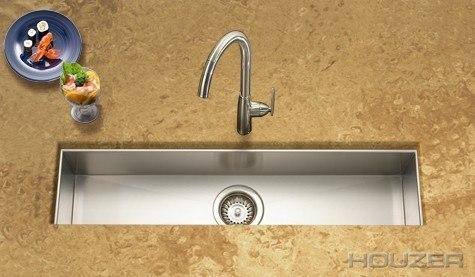 Houzer CTB-3285 Contempo 32 Inch Zero Radius Undermount Trough Bar/Prep Sink