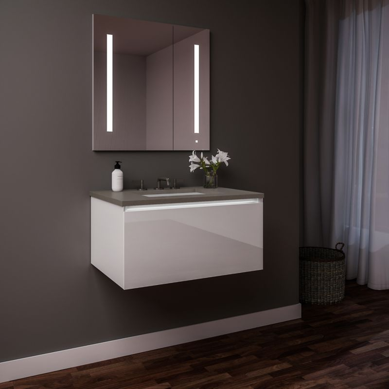 Robern 30219100tb00001 Cartesian 30 Inch Decorative Gl Vanity In White With Engineered Stone Top Gray And Night Light