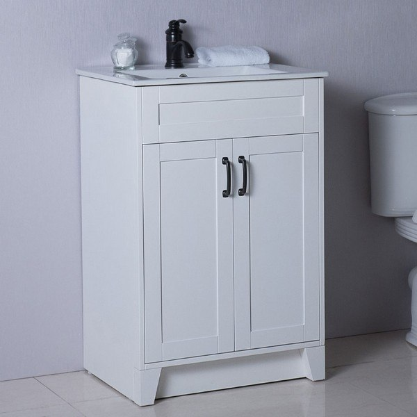 BELLATERRA 9003-24-WH 24 INCH SINGLE SINK VANITY MANUFACTURED WOOD IN WHITE