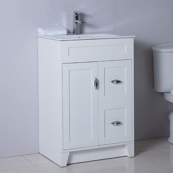 BELLATERRA 9004-24-WH 24 INCH SINGLE SINK VANITY MANUFACTURED WOOD IN WHITE