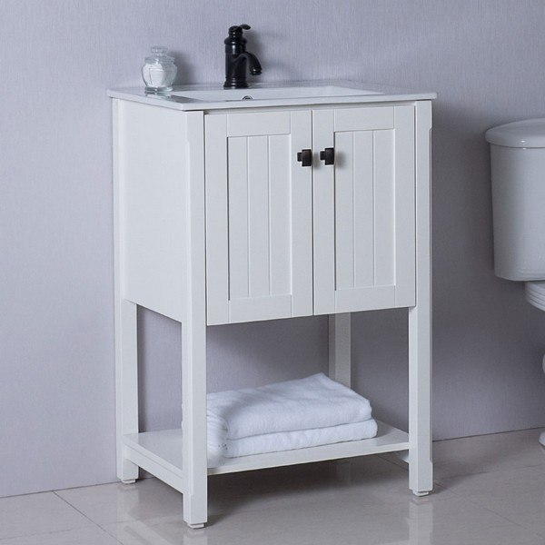BELLATERRA 9006-24-WH 24 INCH SINGLE SINK VANITY MANUFACTURED WOOD IN WHITE