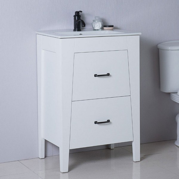 BELLATERRA 9008-24-WH 24 INCH SINGLE SINK VANITY MANUFACTURED WOOD IN WHITE
