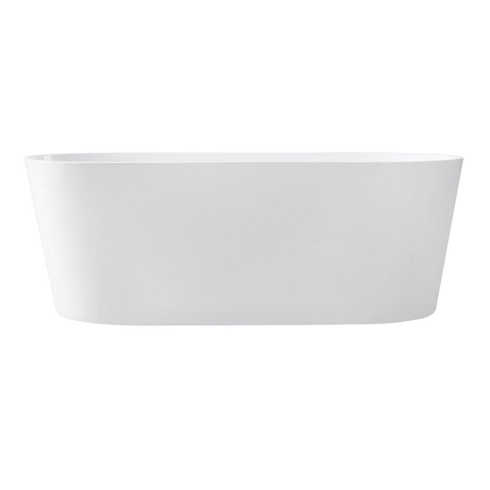 Avanity ABT1524-GL Aria 67 Inch Free Standing Acrylic Soaking Tub with Center Drain, Pop-Up Drain Assembly, and Overflow