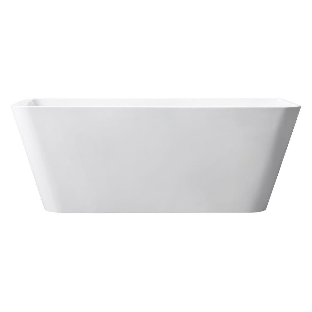 Avanity ABT1530-GL Piron 63 Inch Free Standing Acrylic Soaking Tub with Center Drain, Pop-Up Drain Assembly, and Overflow