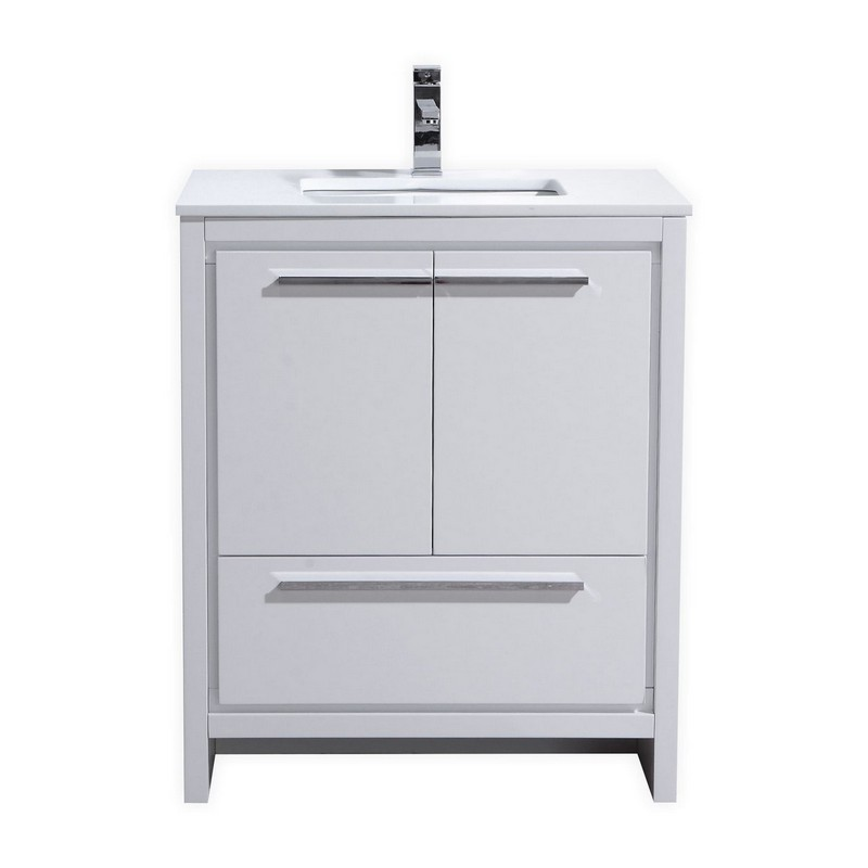 Kubebath Ad630gw Dolce 30 Inch High Gloss White Modern Bathroom Vanity With White Quartz Counter Top