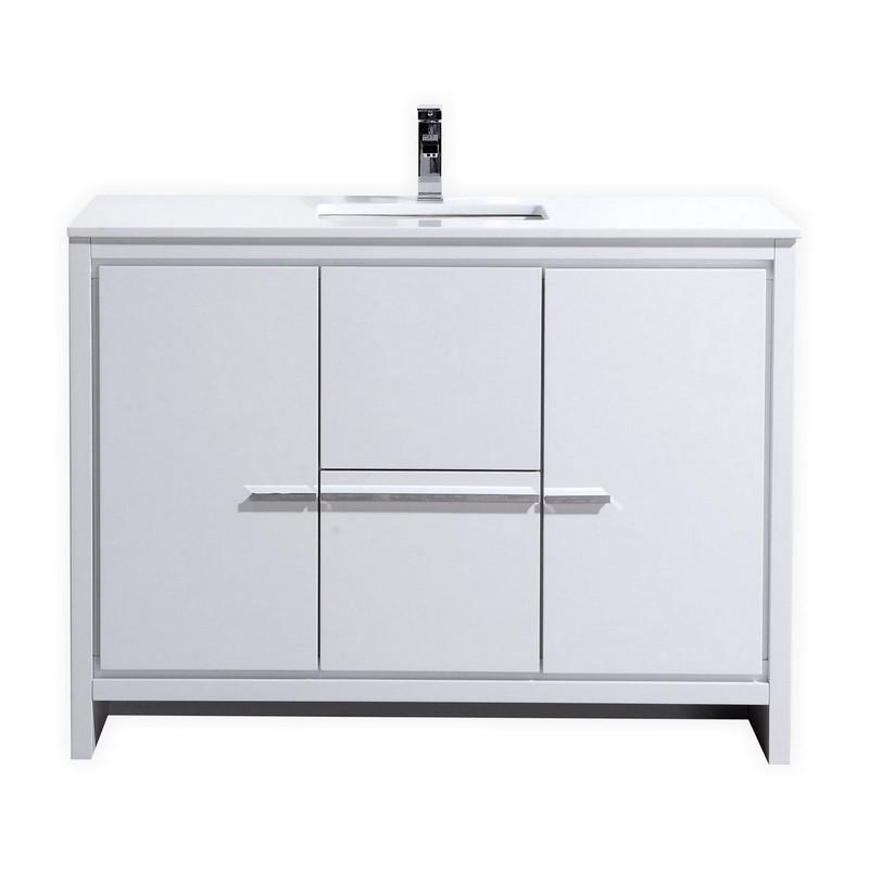 KUBEBATH AD648SGW DOLCE 48 INCH HIGH GLOSS WHITE MODERN BATHROOM VANITY WITH WHITE QUARTZ COUNTER-TOP