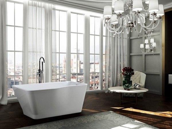 BellaTerra BA6818 Florence 59 Inch Freestanding Bathtub in Glossy White