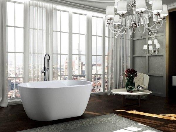 BellaTerra BA6822 Genoa 59 Inch Freestanding Bathtub in Glossy White