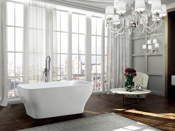 BellaTerra BA6829 Novara 59 Inch Freestanding Bathtub In Glossy White