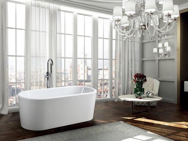BellaTerra BA6830 Padua 63 Inch Freestanding Bathtub in Glossy White