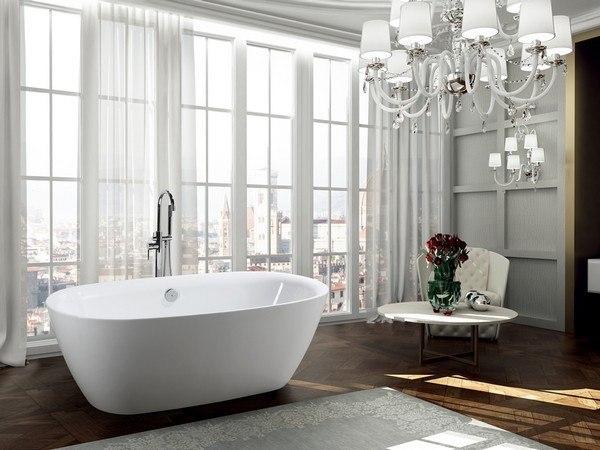 BellaTerra BA6831 Palermo 67 Inch Freestanding Bathtub in Glossy White