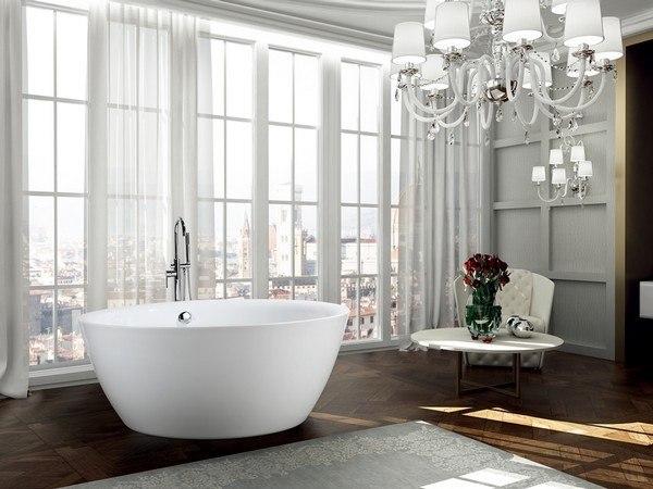 BellaTerra BA6832 Pescara 59 Inch Freestanding Bathtub in Glossy White