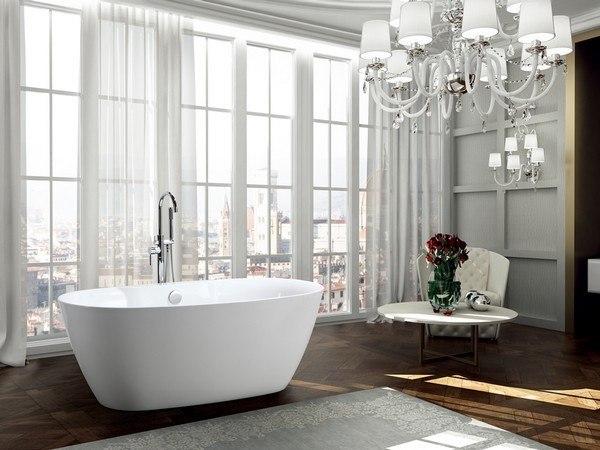 BellaTerra BA6833B Pisa 63 Inch Freestanding Bathtub in Glossy White