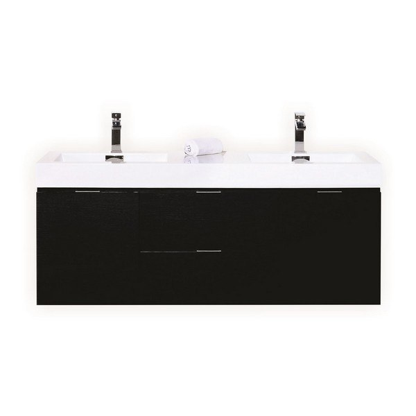 Kubebath Bsl60d Bk Bliss 60 Inch Double Sink Black Wall Mount Modern Bathroom Vanity
