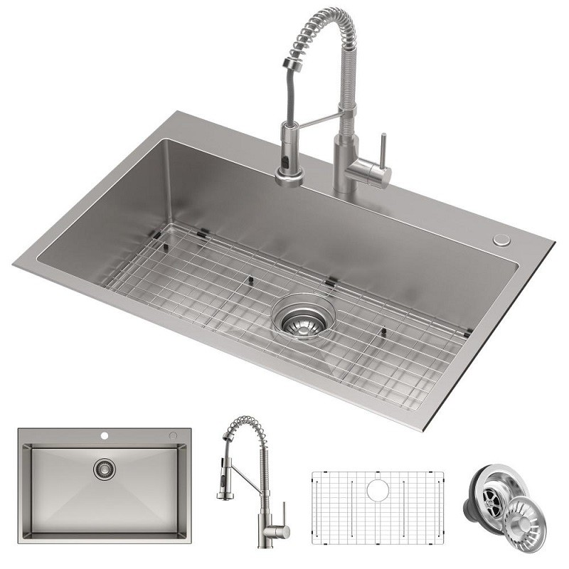 Kraus KCA-1102 Stark 33 Inch Dual Mount Kitchen Sink and Pull-Down  Commercial Kitchen Faucet Combo in Stainless Steel Finish