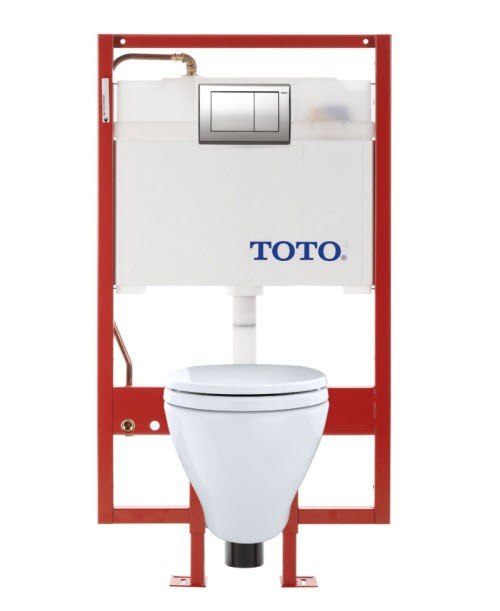 Toto CWT418MFG-2#01 Aquia Wall-Hung Toilet & DUOFIT In-Wall Tank System, 1.6 GPF & 0.9 GPF, Elongated Bowl with SanaGloss