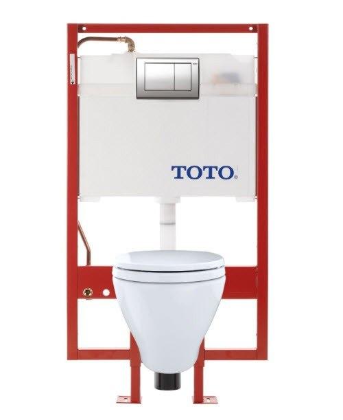 Toto CWT418MFG-2#01 Aquia Wall-Hung Toilet & DUOFIT In-Wall Tank System, 1.6 GPF & 0.9 GPF, Elongated Bowl with SanaGloss