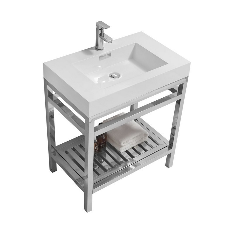 Kubebath Ac30 Cisco 30 Inch Stainless Steel Console With White Acrylic Sink In Chrome