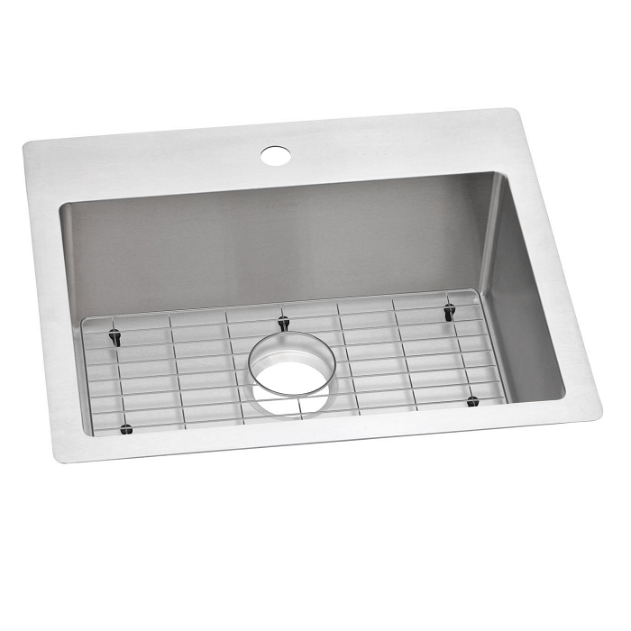 Elkay ECTSR25229TBG1 Crosstown 25 L x 22 W x 9 D Inch Stainless Steel Single Bowl Dual Mount Sink Kit, 1 Faucet Hole