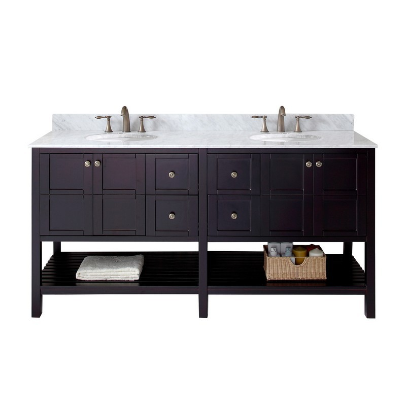VIRTU USA ED-30072-WMRO-NM WINTERFELL 72 INCH DOUBLE BATH VANITY WITH MARBLE TOP AND ROUND SINK
