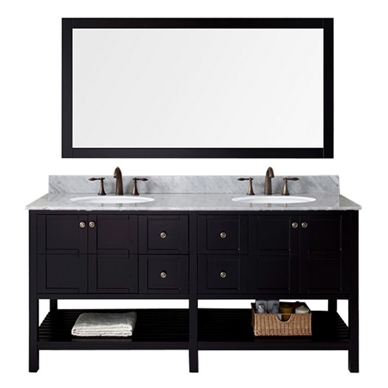 VIRTU USA ED-30072-WMRO WINTERFELL 72 INCH DOUBLE BATH VANITY WITH MARBLE TOP AND ROUND SINK WITH MIRROR