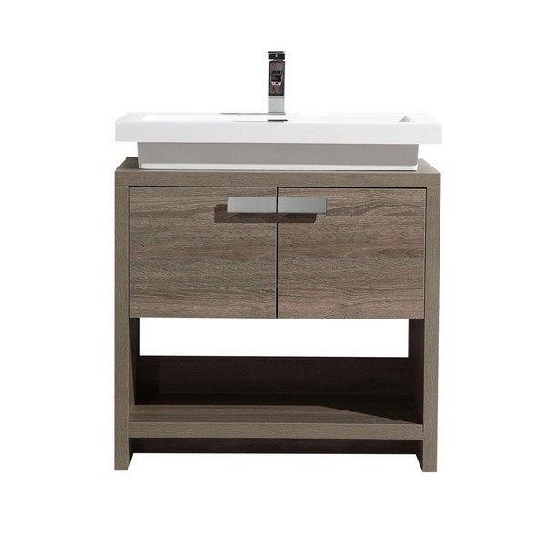 Kubebath L750co Levi 30 Inch Havana Oak Modern Bathroom Vanity With