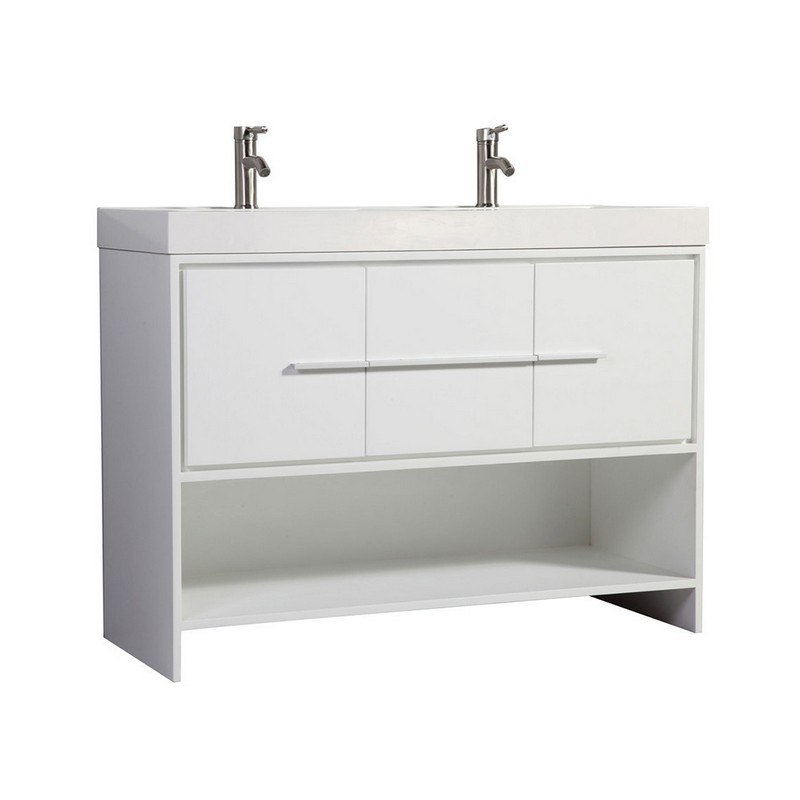 Phenomenal Mtd Mtd Wa6948W N Bergamo 48 Inch Double Sink Modern Bathroom Vanity In White Download Free Architecture Designs Ferenbritishbridgeorg