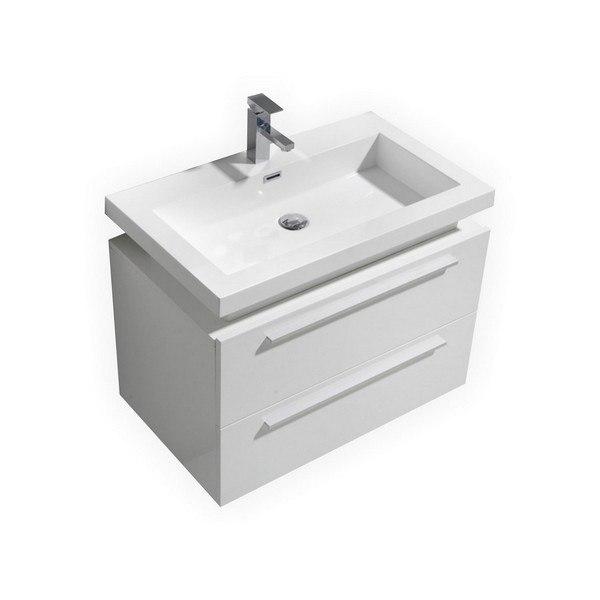 Kubebath N800GW Kube 32 Inch High Gloss White Wall Mount Modern Bathroom  Vanity with Vessel Sink
