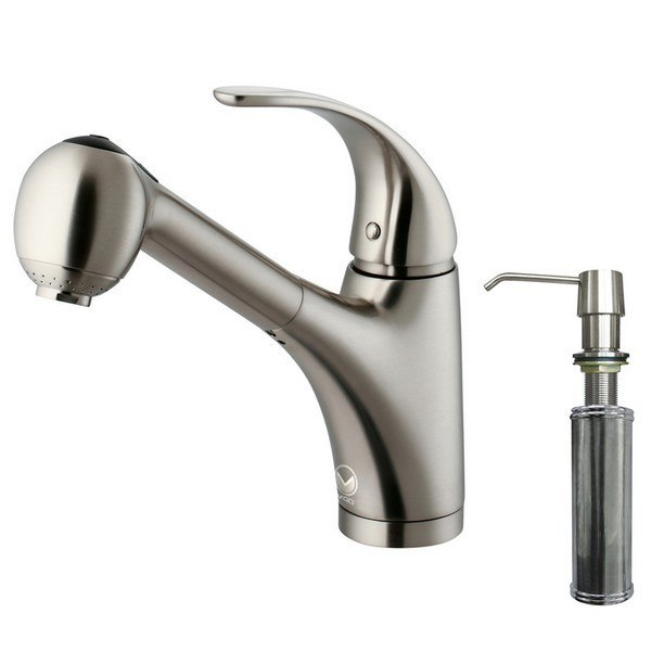 Vigo VG02011STK2 Satinless Steel Pull-Out Faucet with Soap Dispenser