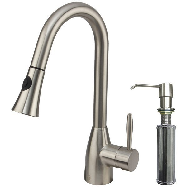 Vigo VG02013STK2 Stainless Steel Pull-Out Faucet with Soap Dispenser
