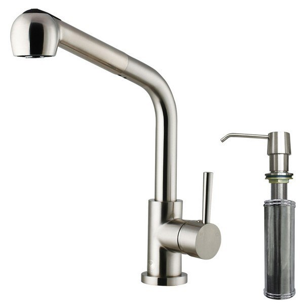 Vigo VG02019STK2 Stainless Pull-Out Kitchen Faucet With Dispenser