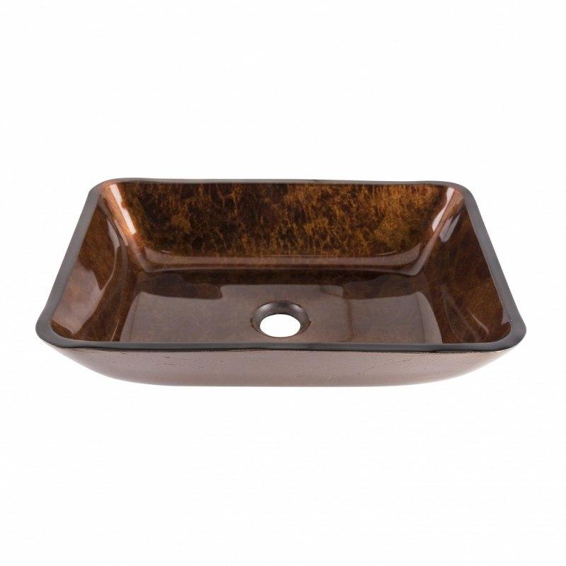 Vigo VG07089 18 Inch Rectangular Russet Glass Vessel Bathroom Sink