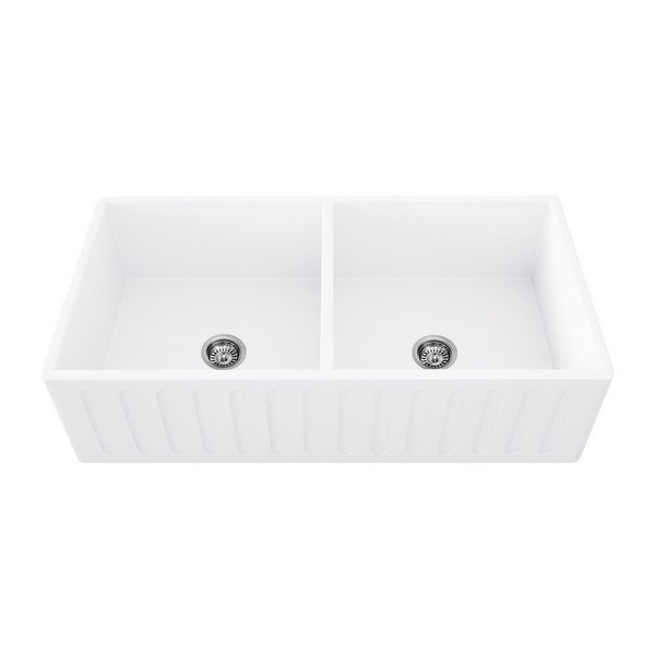 VIGO VGRA3618BL 36 INCH MATTE STONE DOUBLE BOWL FARMHOUSE KITCHEN SINK