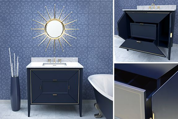 Ronbow 054030-F22 Amora 30 Inch Bathroom Vanity Base Cabinet in Navy