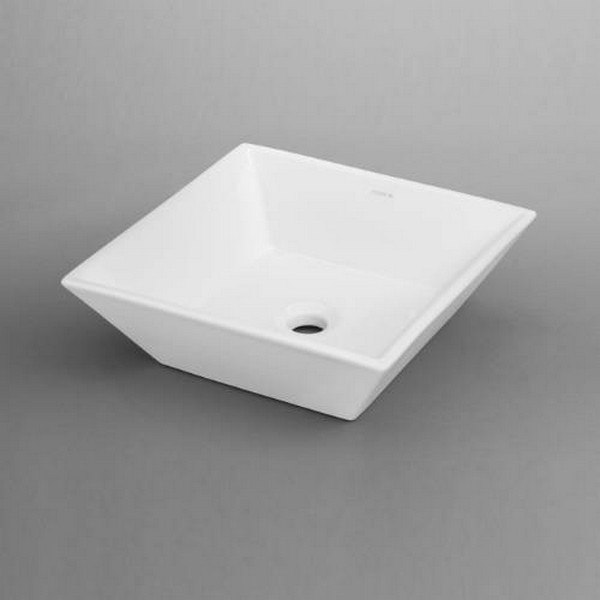 Ronbow 200005-WH Square Ceramic Vessel Bathroom Sink in White