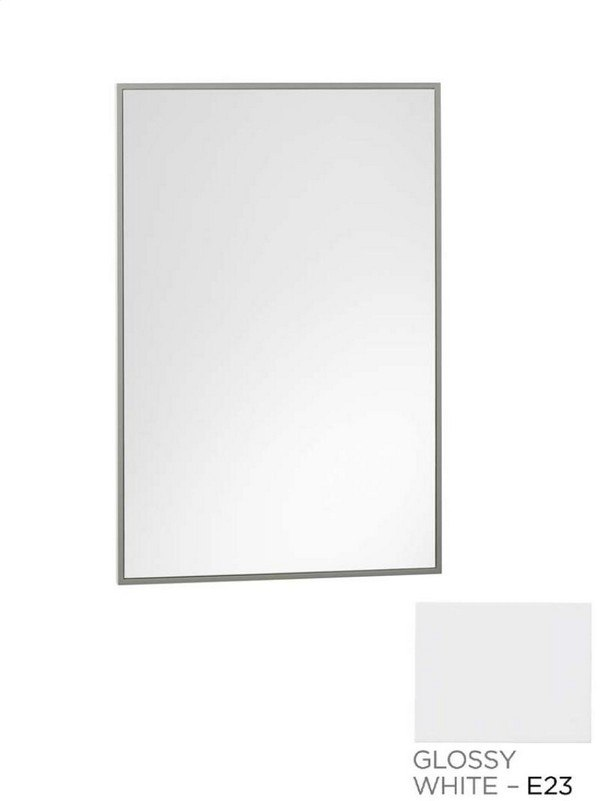 Ronbow 602322-E23 Contemporary 23 x 30 Inch Solid Wood Framed Bathroom Mirror in Glossy White