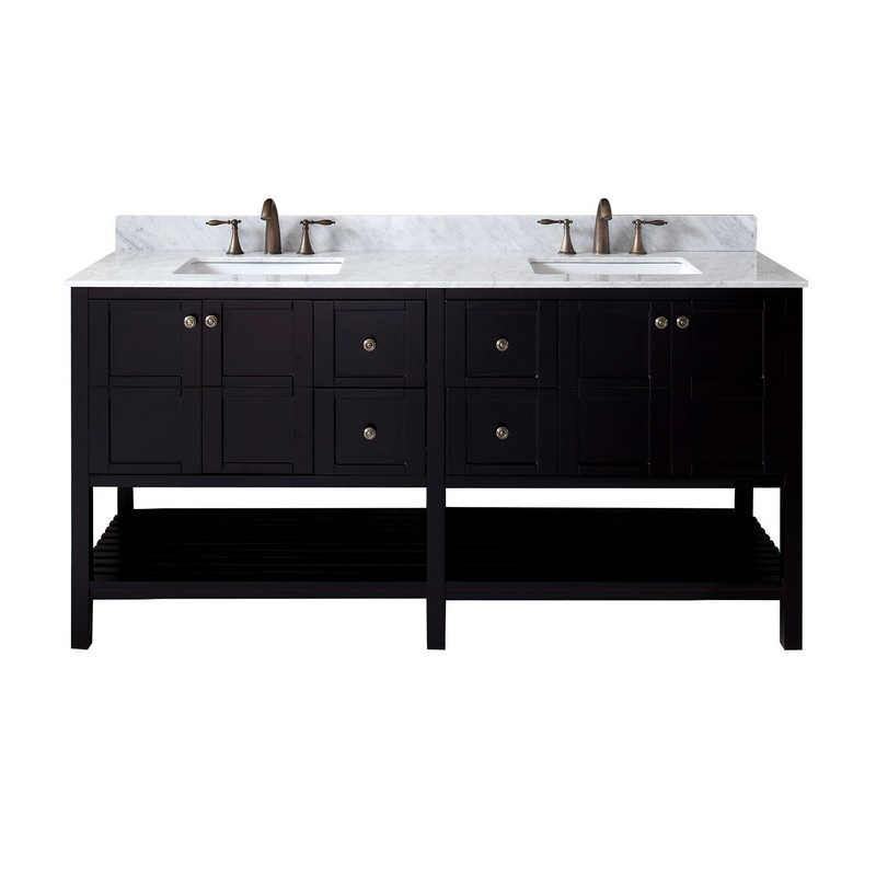 VIRTU USA ED-30072-WMSQ-NM WINTERFELL 72 INCH DOUBLE BATH VANITY WITH MARBLE TOP AND SQUARE SINK