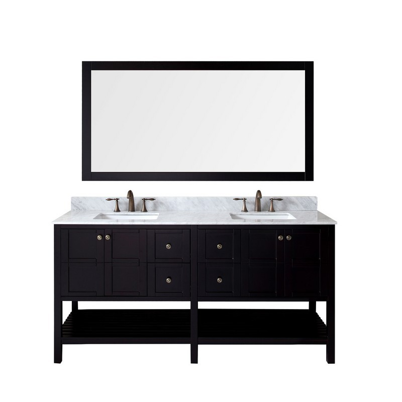 VIRTU USA ED-30072-WMSQ WINTERFELL 72 INCH DOUBLE BATH VANITY WITH MARBLE TOP AND SQUARE SINK WITH MIRROR