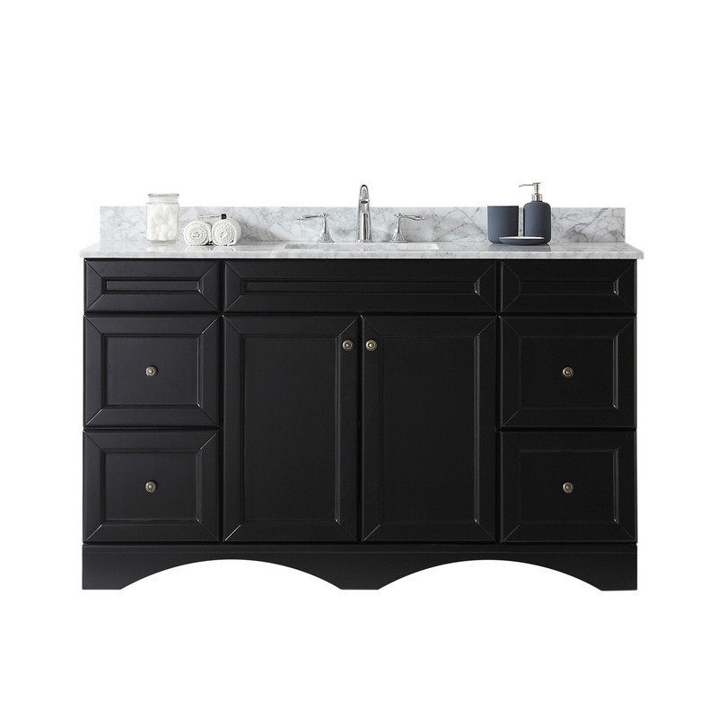 VIRTU USA ES-25060-WMSQ-NM TALISA 60 INCH SINGLE BATH VANITY WITH MARBLE TOP AND SQUARE SINK