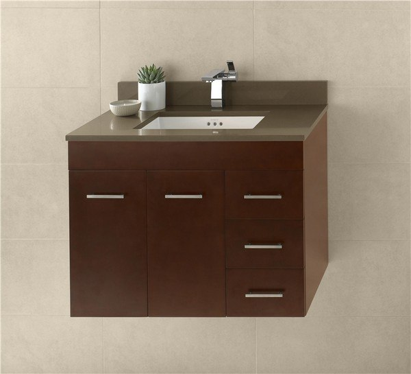 Ronbow 011231-L-H01 Bella 31 Inch Wall Mount Bathroom Vanity Base Cabinet in Dark Cherry - Doors on Left
