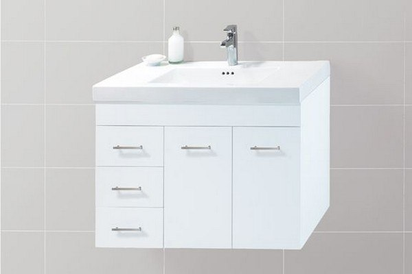 RONBOW 011231-L-W01 BELLA 31 INCH WALL MOUNT BATHROOM VANITY BASE CABINET IN WHITE - DOORS ON LEFT