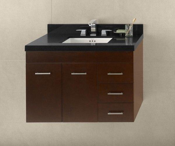 Ronbow 011236-L-H01 Bella 36 Inch Wall Mount Bathroom Vanity Base Cabinet in Dark Cherry - Doors on Left