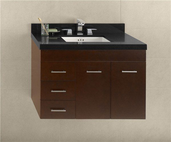 RONBOW 011236-R-H01 BELLA 36 INCH WALL MOUNT BATHROOM VANITY BASE CABINET IN DARK CHERRY - DOORS ON RIGHT