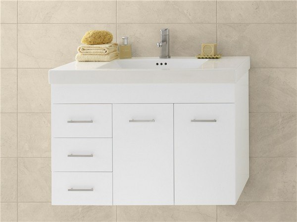 RONBOW 011236-R-W01 BELLA 36 INCH WALL MOUNT BATHROOM VANITY BASE CABINET IN WHITE - DOORS ON RIGHT