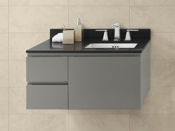 RONBOW 018936-R-E12 VANESSA 36 INCH WALL MOUNT BATHROOM VANITY BASE CABINET IN SLATE GRAY - LARGE DRAWER ON RIGHT