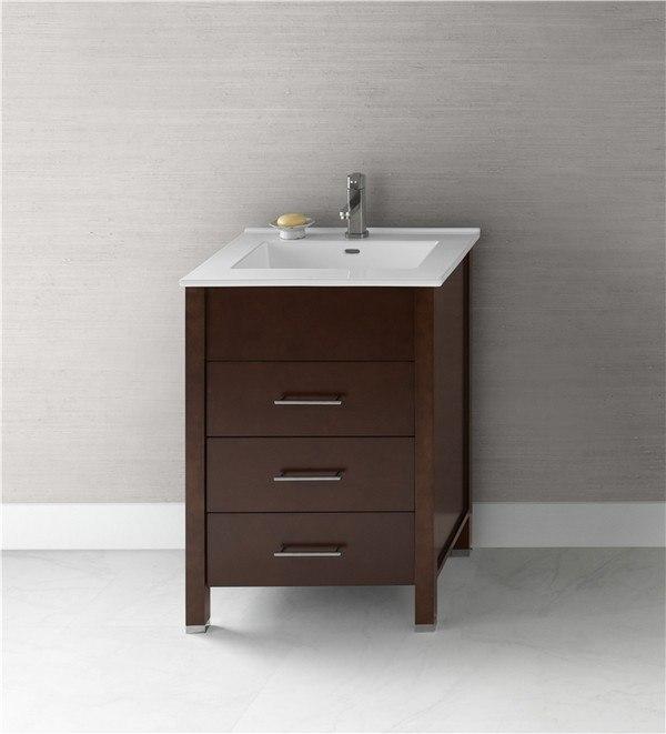Ronbow 030323-H01 Kali 23 Inch Bathroom Vanity Base Cabinet in Dark Cherry