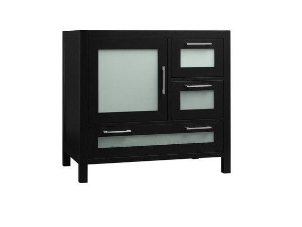 Ronbow 031536-1L-B02 Athena 36 Inch Bathroom Vanity Base Cabinet in Black - Door on Left